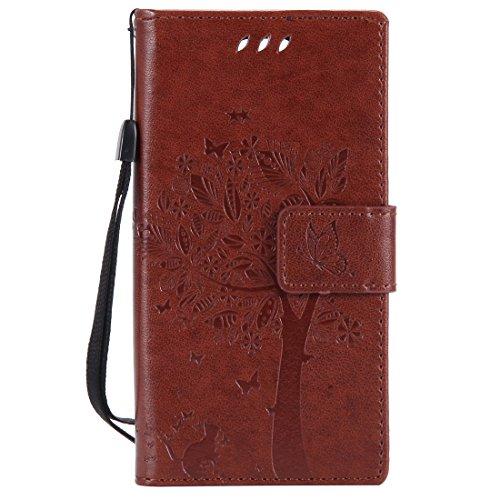 Chreey Huawei Mate 10 Pro Hülle, Prägung [Katze Baum] Muster PU Leder Hülle Flip Case Wallet Cover mit Kartenschlitz Handyhülle Etui Schutztasche [Braun]