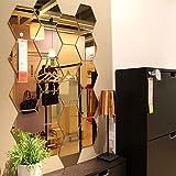 #8: Wall1ders - Acrylic 3D Mirror Hexagon wall decor - 10 Silver & 10 Golden mirror