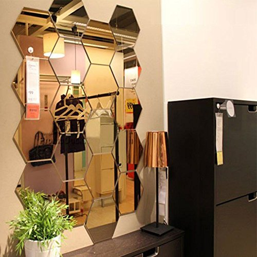 Wall1ders - Acrylic 3D Mirror Hexagon wall decor - 10 Silver & 10 Golden mirror