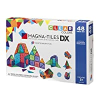 Magna-Tiles 48-Piece Clear Colors DELUXE Set - The Original, Award-Winning Magnetic Building Tiles - Creativity and Educational - STEM Approved