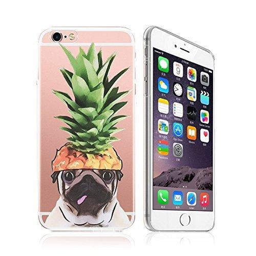 iPhone 7Plus, Animal Series Colorful Gummi Flexible Silikon Tasche Bumper für Apple Clear Cover, Pet Pug Pineapple Head Cap