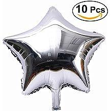 NUOLUX 10pcs aluminio globos estrella de cinco puntos para decoración de fiesta, plata,18inch,Mylar