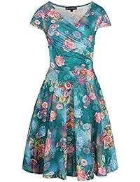 Flor Impresión Elasticidad Mangas Cortas Cuello en V Moda Vestidos Swing Para Mujeres Talla Extra XL
