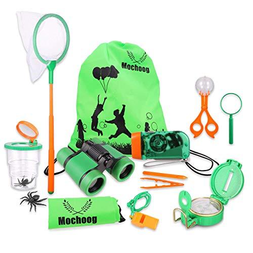 Mochoogle Adventure Explorer Set | Adventure Forscherset | Kinder Fernglas Spielzeug mit Lupe Kompass Tragetasche | 12tlg. Outdoor Spielzeug | Kind Interessiert Sich für Exploration Draussen