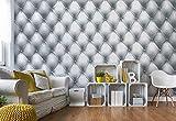 Wallsticker Warehouse Luxus Grau Und Weiß Chesterfield Textur Vlies Fototapete Fotomural - Wandbild - Tapete - 254cm x 184cm / 2 Teilig - Gedrückt auf 130gsm Vlies - 1724V4 - Luxus