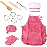 TOYMYTOY 11Pcs Kids Chef Set Children Kitchen Cooking Play Costume With Chef's Hat Apron Cooking Mitt And Utensils For Kids Cooking Play