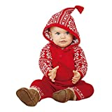 BeautyTop Baby-Overall-Kleidung, Neugeborene Baby Mädchen Junge Weihnachten Kleidung Mit Kapuze Strampler Overall Pyjamas Outfits (80/6-12 Monate, Rot)