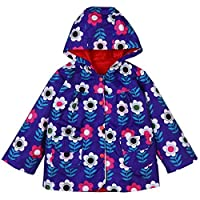 LZH Girls Raincoat Waterproof Rain Jacket Hooded Flower Print Coat