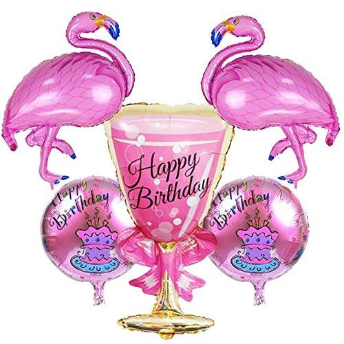 VAK 5Stück/lot Happy Birthday Cup Folie Luftballons rund Flamingo Form Helium aufblasbar...