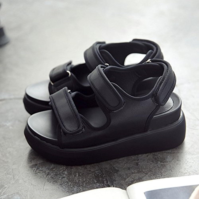 QQWWEERRTT Moda Plataforma Zapatos Sandalias Estudiante Verano Nuevo Universal Cuero Grueso Cuero Roma,38,Negro -