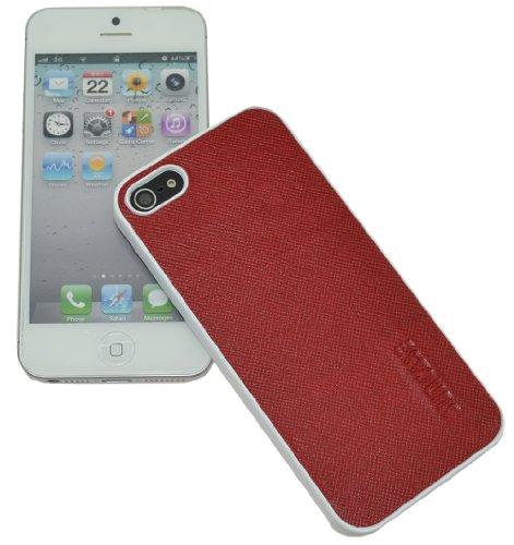 Original SunCase ® Leder-Schale (Handy-Cover) für Apple iPhone SE / iPhone 5S / iPhone 5 in argyle-antik Vollnarbig-Rot