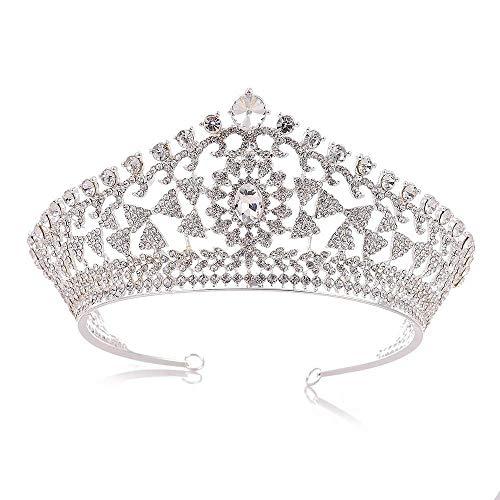 Kristall Krone Hochzeit Kronen Und Diademe Für Erwachsene Braut Krone Tiara Kristall Party Haarschmuck Für Frauen Haarschmuck (Farbe: Silber)