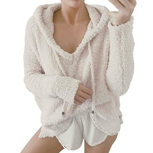 Hoodie Sweatshirt Damen, DoraMe Frauen Mohair Kapuzenpullover Winter Warme Bluse Langarmshirts Kapuzen Pullover mit Kordelzug (Beige, M)
