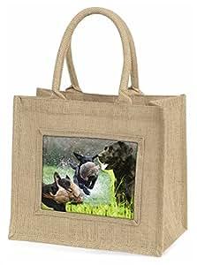 Advanta Zurückholen Labrador Montage Große Einkaufstasche/Weihnachten Geschenk, Jute, beige/natur, 42x 34,5x 2cm