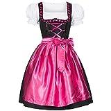 Gaudi-Leathers Dirndl Iwona schwarz mit Schürze pink Gr. 42