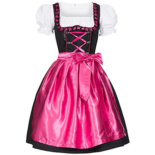 Dirndl Iwona schwarz mit Schürze pink Gr. 44
