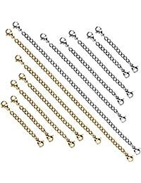 AIEX 12 Unids Extensores de Cadena Extensor de Acero Inoxidable Juego de Cadena para Pulsera Collar Fabricación de Joyas, 2 Colores y 4 Tamaños
