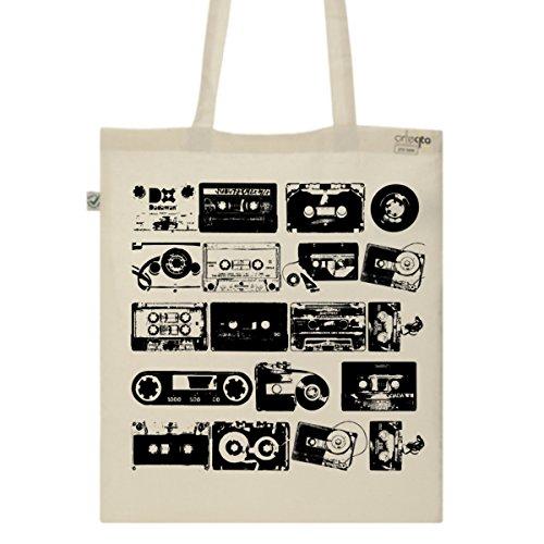 Tote Bag Imprimé Ecru - Toile en coton bio - K7 audio vintage