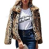 Faux Pelzmantel Damen Jacke Kurzmantel Langarm Mode Leopard Mantel Kragen Revers
