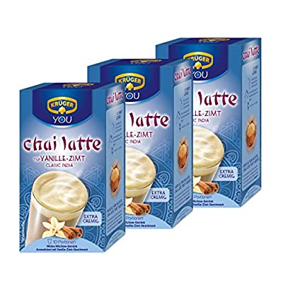 Krüger Chai Latte Classic India, Vanille-Zimt, mildes Milchtee Getränk, 3er Pack, 3 x 10 Portionsbeutel