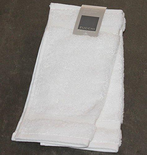 SET 2 LAVETTE ZUCCHI SOLOTUO TINTA UNITA CM 30 x 30 100% COTONE PETTINATO 620 gr/m² ALTA QUALITA' (BIANCO v.1000)