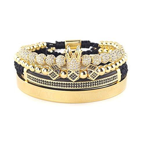 Imagen de vawaa 4 unids/set cobre cuentas rey corona hombres pulsera de acero inoxidable brazalete cz bola macrame pulseras brazaletes brazaletes para los hombres joyería