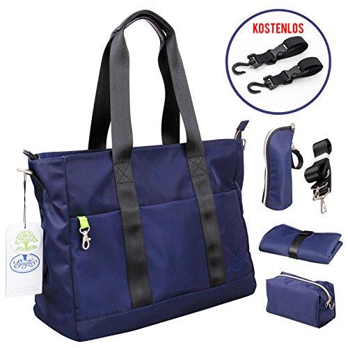 Preisvergleich Produktbild BAYTTER® multifunktionale Wickeltasche Set Schultertasche aus Nylon für Flaschen, Windeln, Babykleidung usw. wasserdicht, eine Geldtasche mitgeliefert, schönes Design, BPA-frei und kein Geruch, dunkelblau (blau)