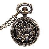 TOOGOO Reloj Vintage de Bronce 31.5 Pulgada Reloj antiguo de cadena de Bolsillo de Moda Como regalo - Mariposas y flores