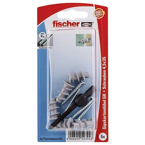 Fischer Gipskartondübel GKS K SB-Karte, 5 x Spanplattenschraube 4,5 x 35, 1 x Setzwerkzeug, 052392