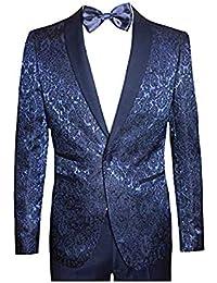 Alta satoria Abito Uomo Smoking Damasco Damascato Cerimonia Super Slim  Giacca Pantalone Blu BLE (Veste 60163e1d41ef