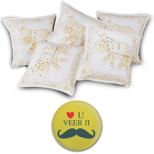 Little India Hand Embroidery Zari Thread Work Cotton 5 Piece Cushion Cover Set - Multicolor  (DLI3CUS417)