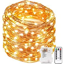 Xergy 10M 100 Led Powered by Battery Box and Remote and 8 Mode Functions Copper Wire Led Fairy String Lights Valentine Decoration (Warm White) Christmas Tree Decoration Lights Festival Rice Light