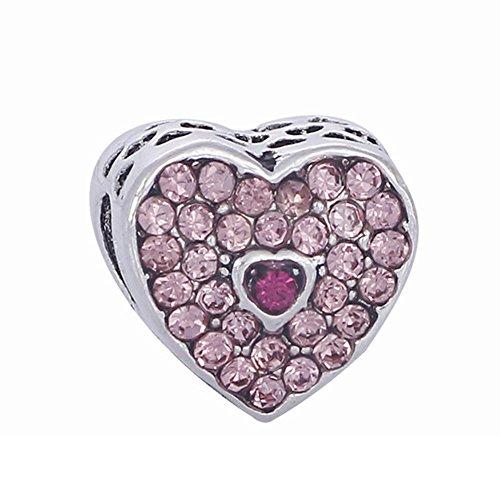 Bling Stars Charm-Perle You Are Always In My Heart, mit Swarovski Elements Kristall, für Charm-Armbänder von Pandora rose