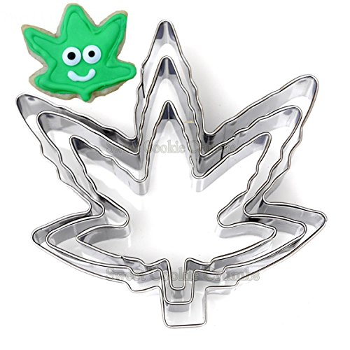 Marihuana Pot Leaf Brownie Cookie Cutter Form Party Neuheit Gelenk Bud Smoke Geschenk - 3-teiliges Set - Edelstahl Cookie-cutter-brownies