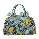 Banned Damen Rockabilly Tasche Hawaii - Flamingo Wanderlust Vintage Henkeltasche