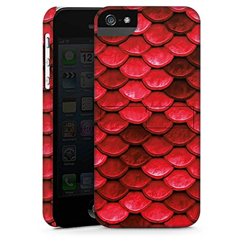Apple iPhone 5c Silikon Hülle Case Schutzhülle Rote Schuppen Drache Muster Premium Case StandUp