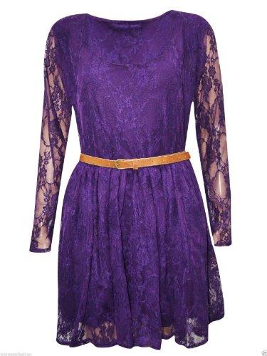 Janisramone nouvelles femmes parti robe résille floral dentelle ceinturé patineur plus purple