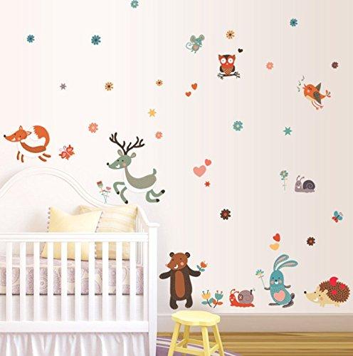 BANCN DIY Adesivo di decalcomanie animali modello cartoncino per bambini Wall Art Sticker Decor