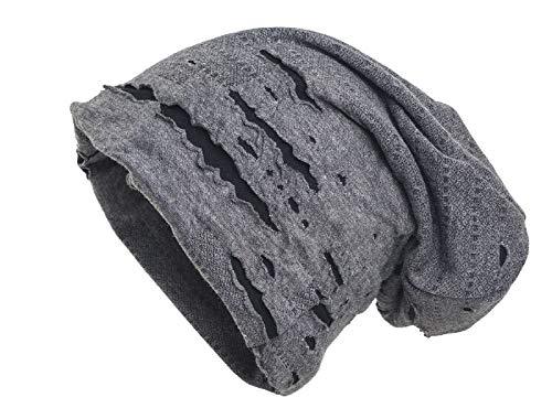 shenky - Cappello Lungo - Jersey - Effetto Rovinato - Grigio 75ead490f843