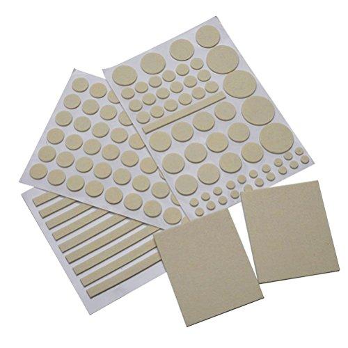 NUOLUX Coussinets de feutre meubles tapis protecteur Pad couvrent 132 ensembles (Beige)