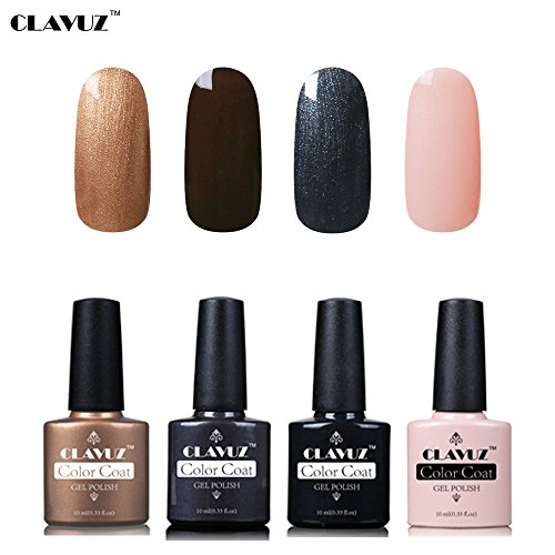 Set de Vernis à Ongles Semi-Permanent UV LED Soakoff 4pcs Kit Manucure 10ml de Clavuz-KIT 011
