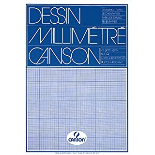 Canson A3 90 GSM Short Side Glued Pad Blue Print Millimetre Drawing Paper (Pack of 50 Sheets)