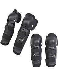 Bicicleta Moto Motocross Bicicleta de montaña MTB Deportes Extremos rodilleras y coderas, + anatómico carcasa rígida Gear Salvaguardar Armor Set w/correa elástica ajustable, color negro
