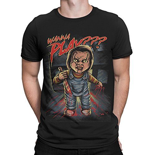 mycultshirt Chucky Want to Play T-Shirt Horror Puppe Clown Halloween Film Movie Messer