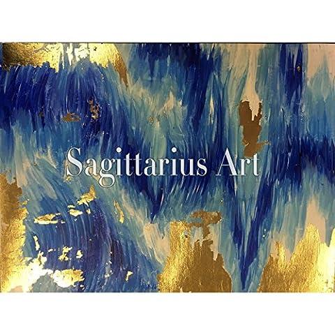 Haute qualité peinte à la main d'origine abstraite moderne Art contemporain Peinture Bleu et or rayé Décoration murale Texture illustrations, 28x36inch(70x90cm)