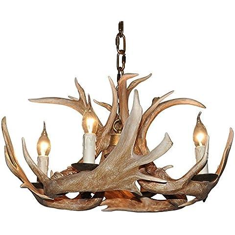 Shengdi Deer Horn 4-Light ferro industriale vintage lampadario a soffitto della lampada della lampada per Ristorante Balcone camera da letto senza paralume 1005C-4
