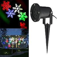 Fodsports LED Snowflake proiettore di luce Paesaggio, Fiocco di neve modello si sposta automaticamente, Adatto per Halloween Decorazione di Natale di nozze, luce bianca Colorato (rosso, verde, blu, bianco)
