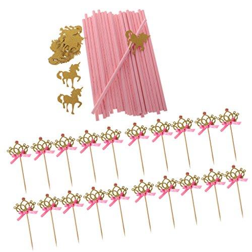 x Glitter Einhorn Trinkhalm & 20x Gold Krone Cupcake Topper für Kinder Mädchen Geburtstag Party ()