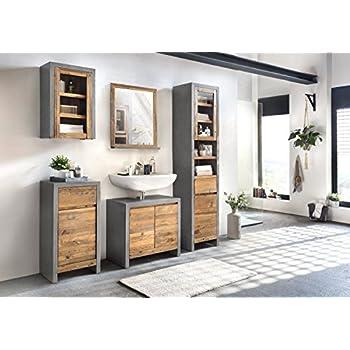 Badezimmermöbel weiß landhaus  Woodkings® Bad Set Manila Echtholz Pinie natur rustikal und MDF ...