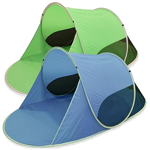 "Outent® Pop Up Wurfzelt Strandmuschel Strandzelt ""Sunray II"" grün - 245 x 145 x 100 cm - UV-Schutz: 50+"